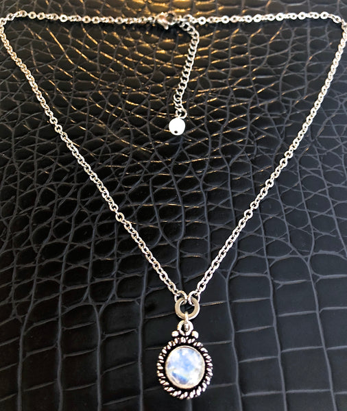 Rainbow Moonstone Healing Crystal Reiki Adjustable Gemstone Necklace - Spiritual Diva Jewelry