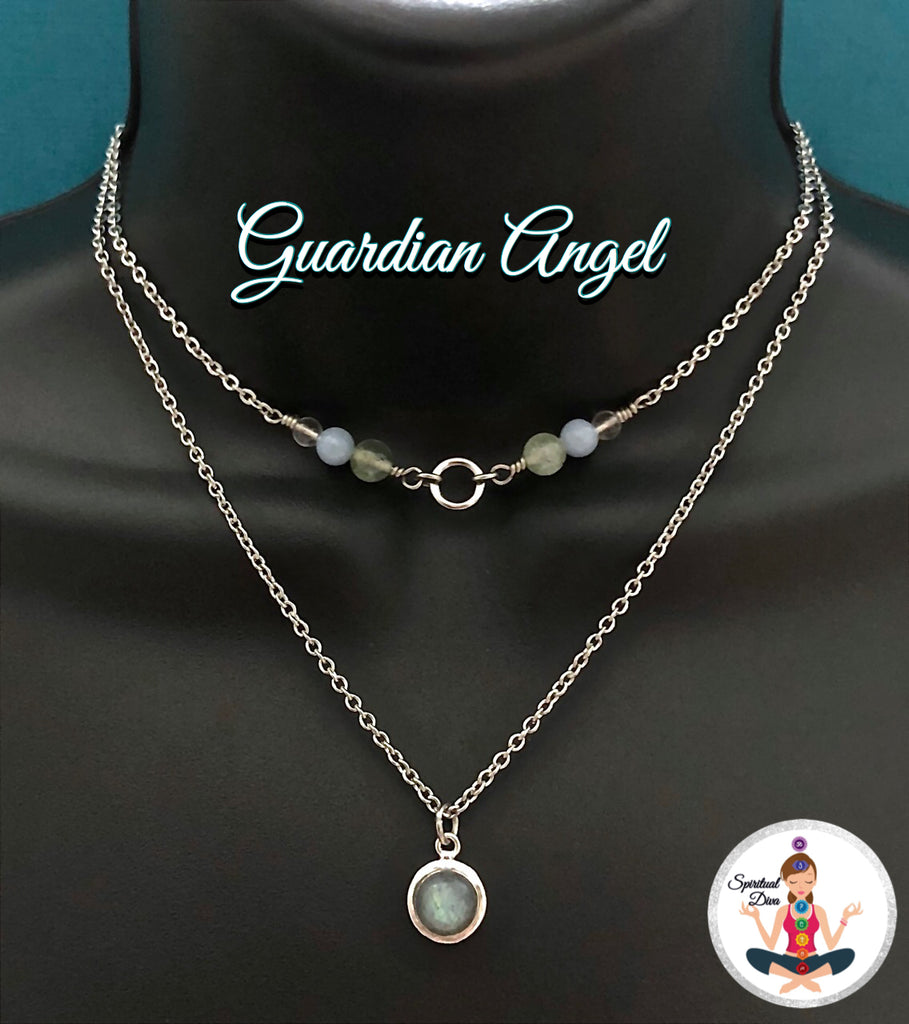 Guardian Angel Healing Crystal Reiki Gemstone Double Choker Necklace - Spiritual Diva Jewelry