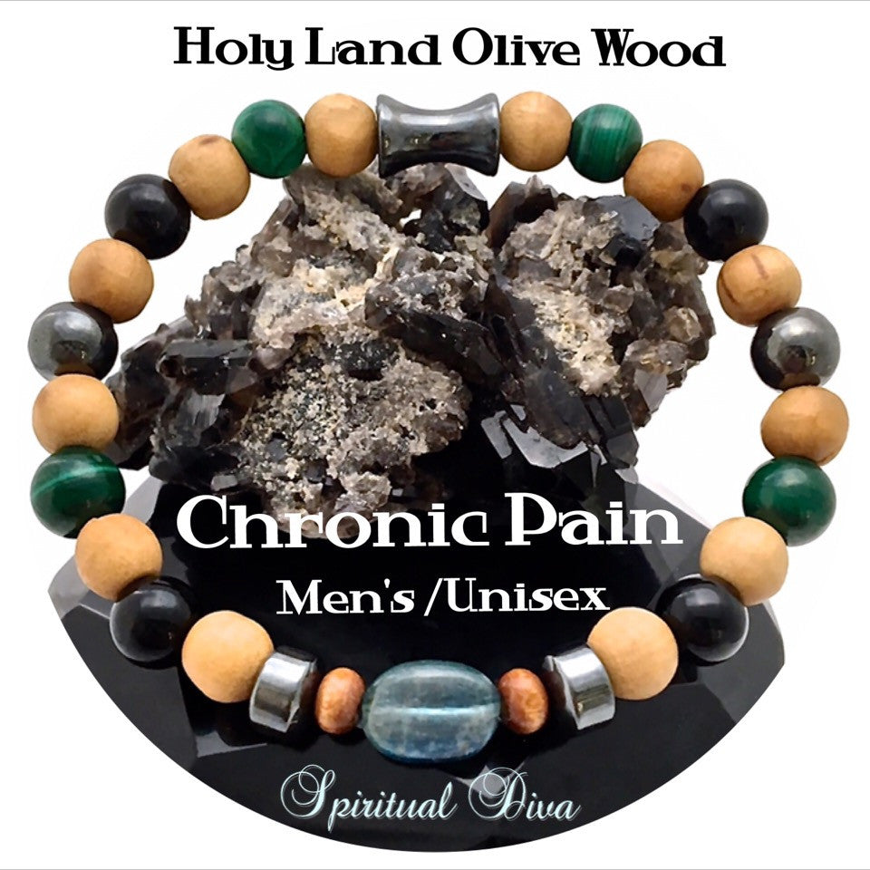 Chronic Pain Relief Healing Crystal Mens Unisex Olive Wood Bracelet - Spiritual Diva Jewelry