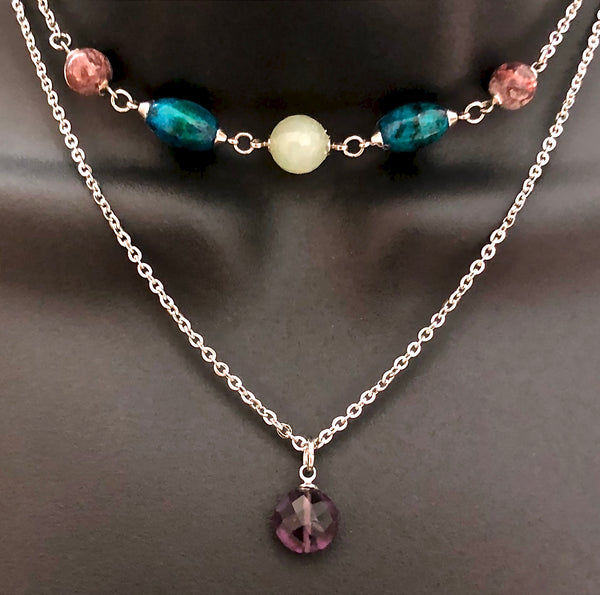 Strength Grief Depression Healing Crystal Reiki Double Choker Necklace - Spiritual Diva Jewelry