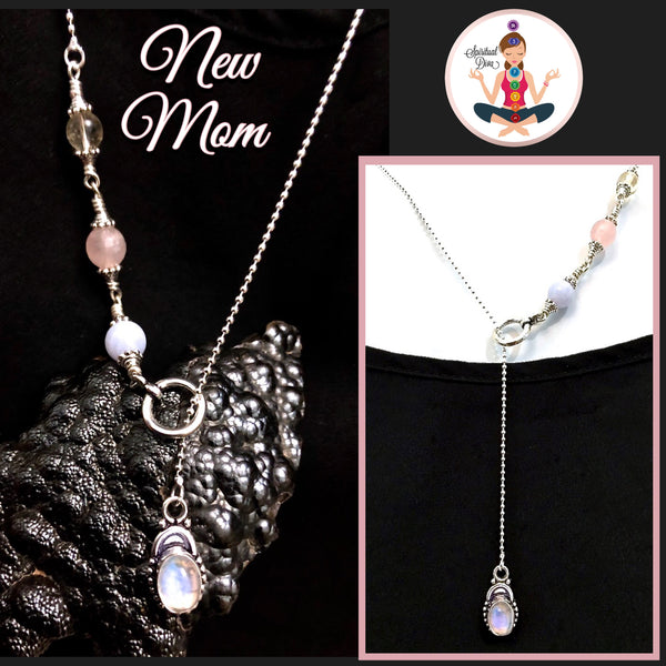 New Mother Healing Crystal Reiki Sterling Gemstone Lariat Y Necklace - Spiritual Diva Jewelry