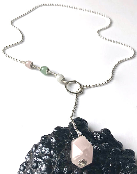 FERTILITY PREGNANCY Healing Crystal Reiki Sterling Lariat IVF Necklace - Spiritual Diva Jewelry