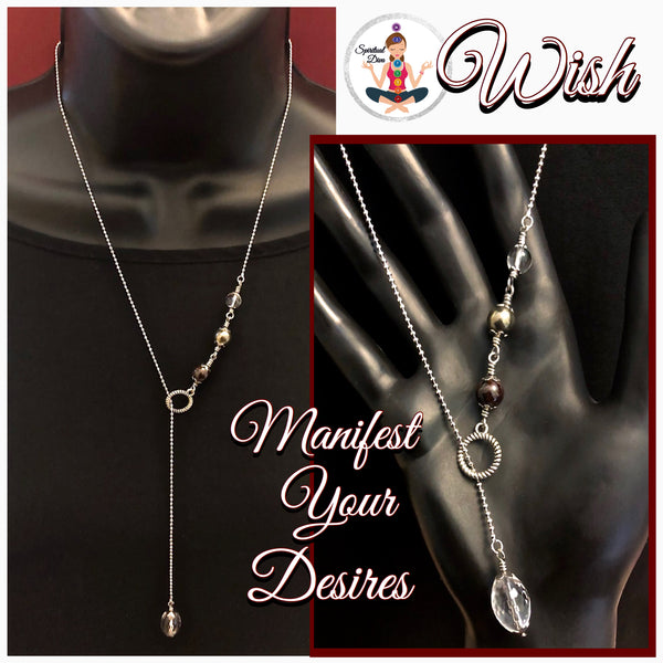 WISH Manifestation Energy Healing Crystal Gem Reiki Lariat Y Necklace - Spiritual Diva Jewelry