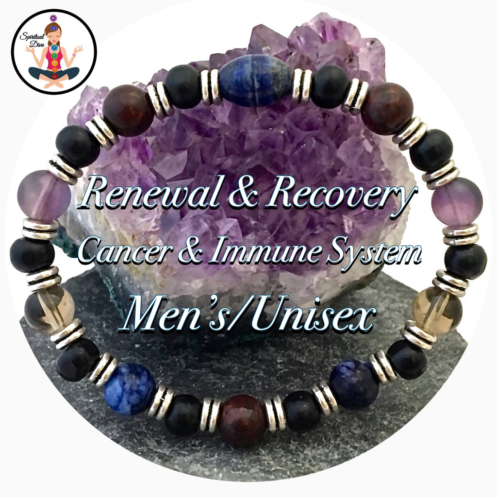 Cancer Immune System Recovery Healing Crystal Mens Reiki Bracelet - Spiritual Diva Jewelry