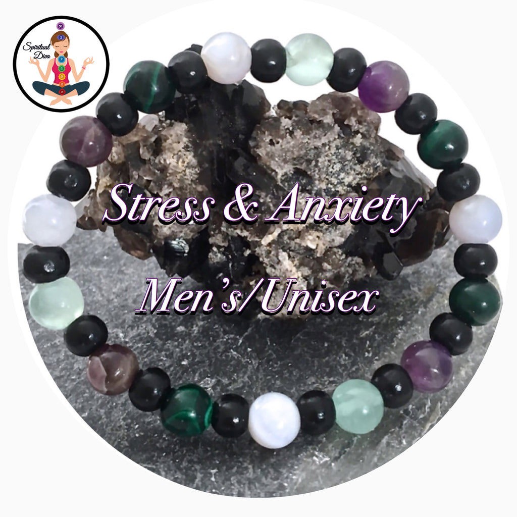 Stress & Anxiety Relief Energy Healing Crystal Reiki Mens Unisex Gemstone Wood Bracelet - Spiritual Diva Jewelry