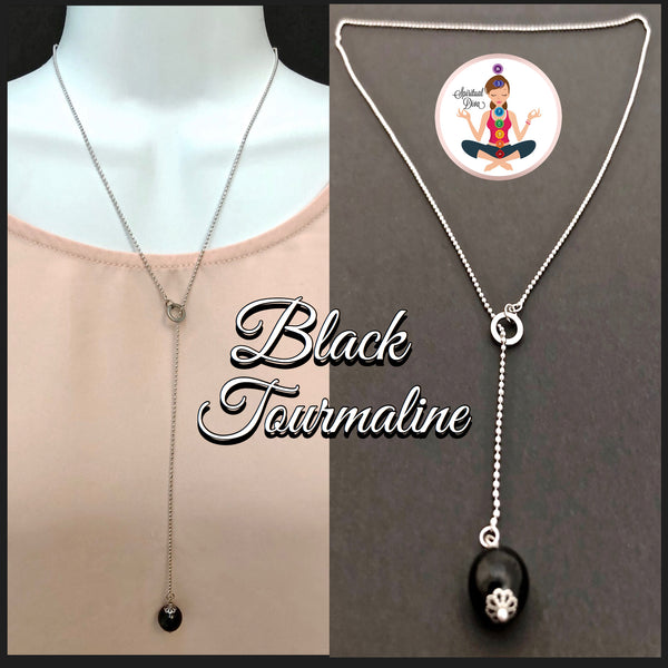 Black Tourmaline Healing Crystal Reiki Lariat Gemstone Y Necklace - Spiritual Diva Jewelry