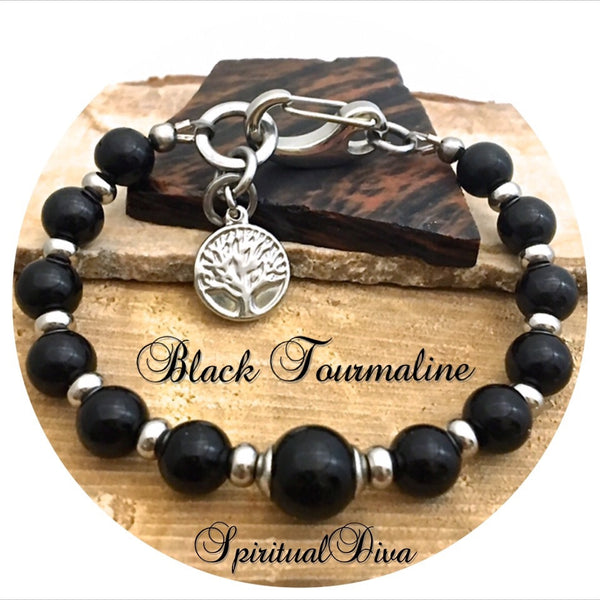 BLACK TOURMALINE Protection Healing Crystal Reiki Gemstone Bracelet - Spiritual Diva Jewelry