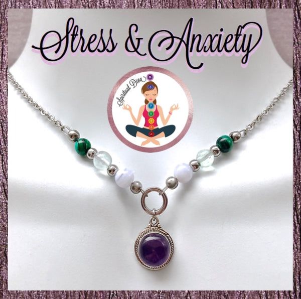 Stress Anxiety Energy Healing Crystal Reiki Gemstone Choker Necklace - Spiritual Diva Jewelry