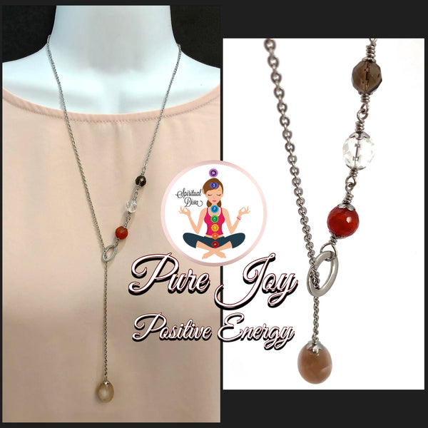 Pure Joy Positive Energy Healing Crystal Gemstone Reiki Lariat Y Necklace - Spiritual Diva Jewelry
