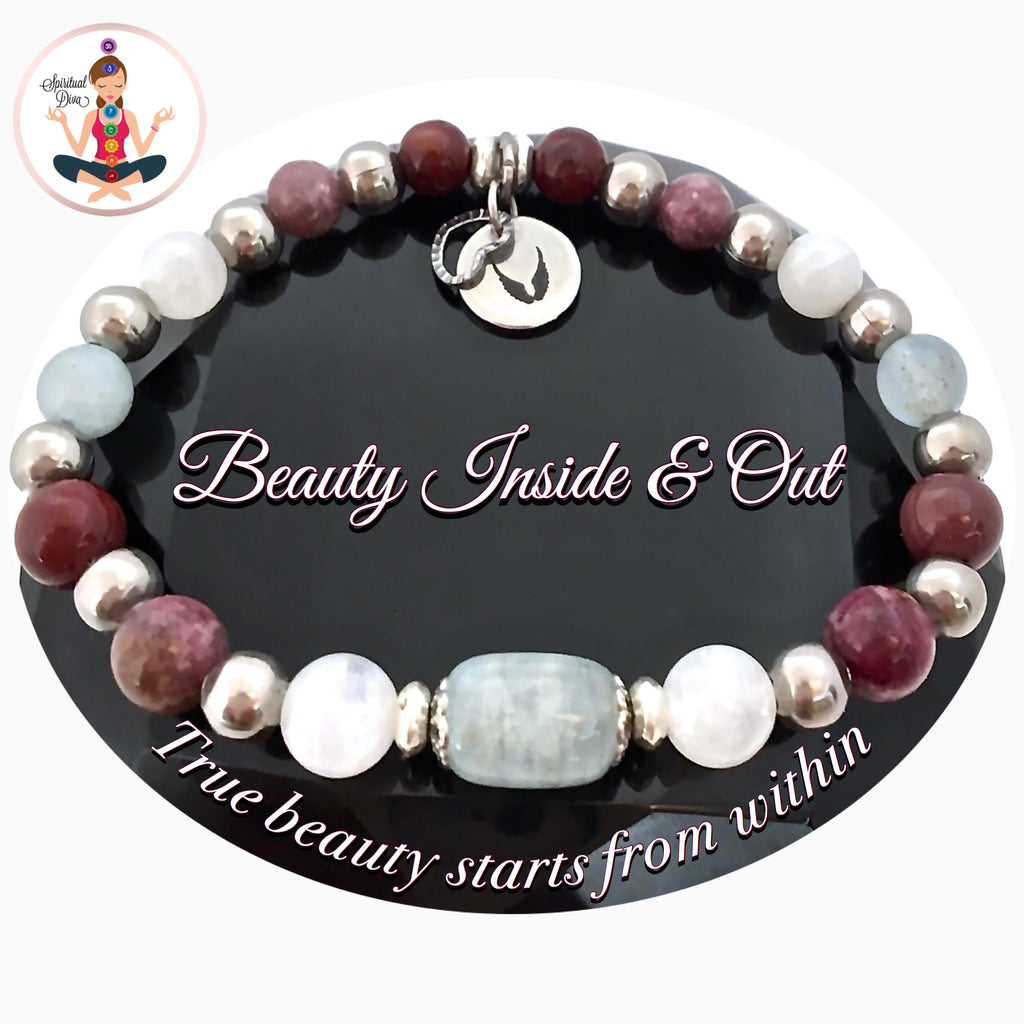 Inner Beauty Healing Crystal Reiki Moonstone Aquamarine Angel Bracelet - Spiritual Diva Jewelry