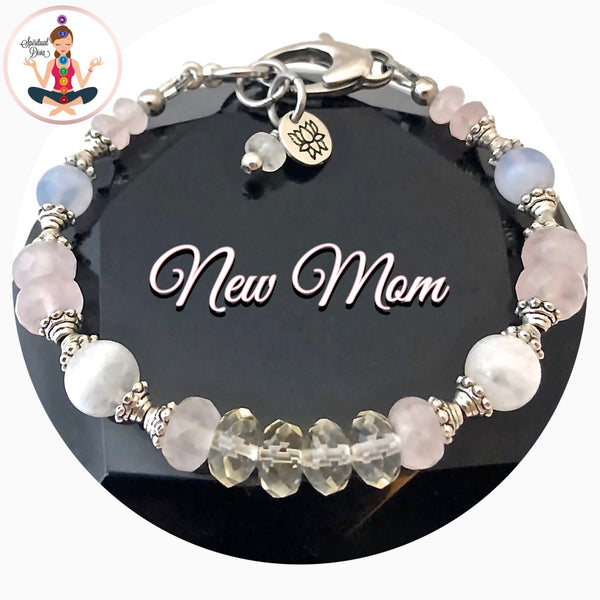 New Mother Baby gift Energy Healing Crystal Reiki Lotus adjustable Gemstone  bracelet SALE - spiritual diva jewelry