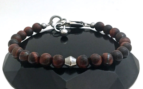 Red Tiger Eye Energy Healing Crystal Reiki Gemstone Clasp Bracelet - Spiritual Diva Jewelry