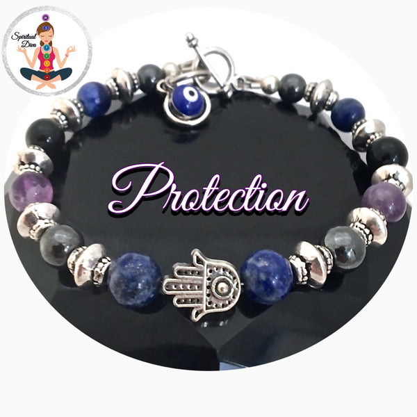 Protection energy healing Crystal reiki Evil Eye Hamsa Hand Adjustable bracelet SALE - Spiritual Diva Jewelry