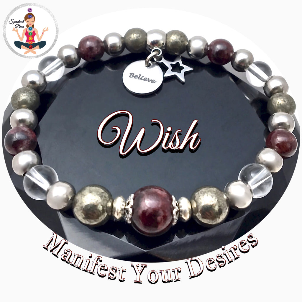 WISH Manifestation Energy Healing Crystal Reiki Gemstone Star Believe Bracelet - Spiritual Diva Jewelry