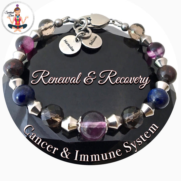 Cancer Immune System Recovery Healing Crystal Reiki Gemstone Believe Miracles Bracelet - Spiritual Diva Jewelry
