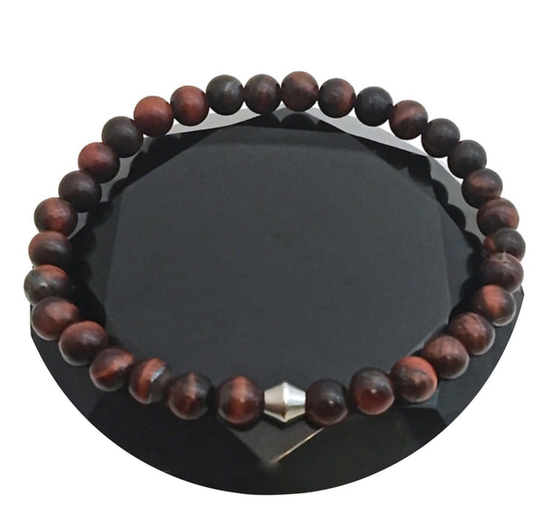 red tiger eye healjng crystal reiki mens unisex bracelet - Spiritual Diva Jewelry