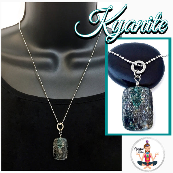 Kyanite Energy Healing Crystal Reiki Gemstone Necklace Chakra Pendant SALE - Spiritual Diva Jewelry