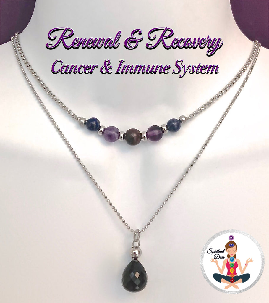 Cancer Immune System Recovery Healing Crystal Reiki Gemstone Double Strand Choker Necklace - Spiritual Diva Jewelry
