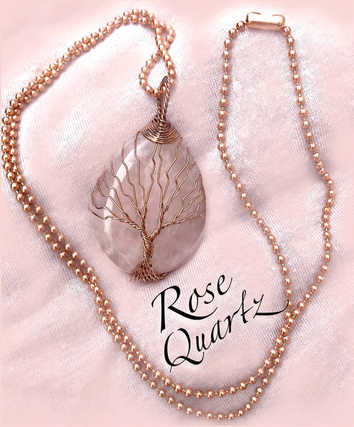 Rose Quartz Copper Healing Crystal Reiki Gemstone Pendant Necklace - Spiritual Diva Jewelry