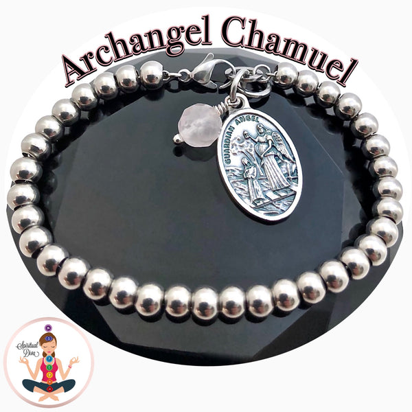 Archangel Chamuel Rose Quartz Healing Crystal Stainless Charm Bracelet - Spiritual Diva Jewelry
