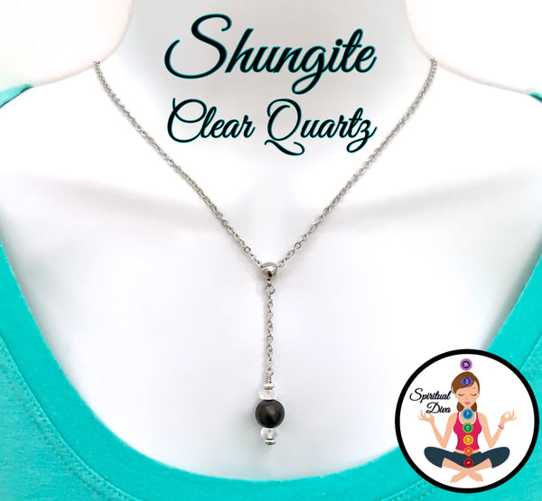 Shungite Clear Quartz Healing Crystal Reiki Pendant Gemstone Necklace - Spiritual Diva Jewelry