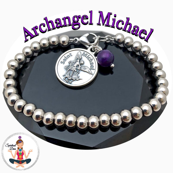 Archangel St Michael Sugilite Healing Crystal Stainless Steel Charm Bracelet - Spiritual Diva Jewelry