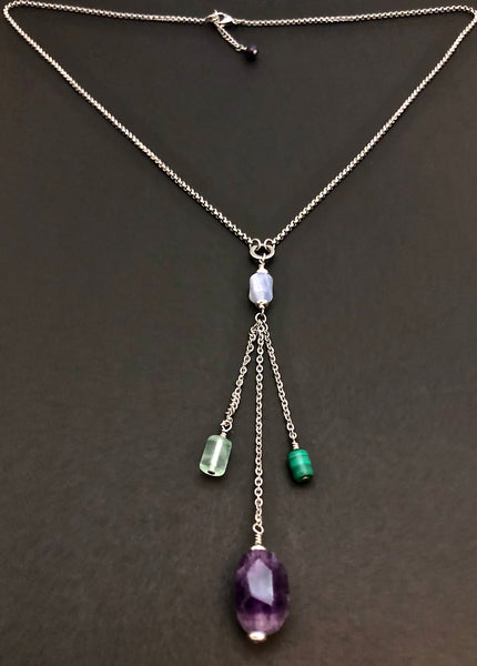 Stress Anxiety Energy Healing Crystal Reiki Gemstone Tassel Necklace - Spiritual Diva Jewelry