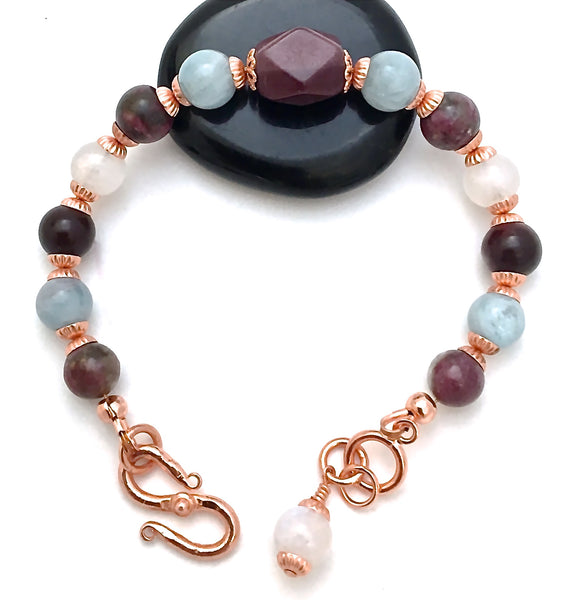 INNER BEAUTY Healing Crystal Reiki Copper Gemstone Bracelet Moonstone - Spiritual Diva Jewelry