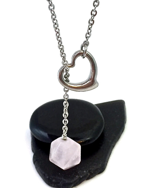 Rose Quartz Love Healing Crystal Reiki Gemstone Lariat Y Necklace SALE - Spiritual Diva Jewelry
