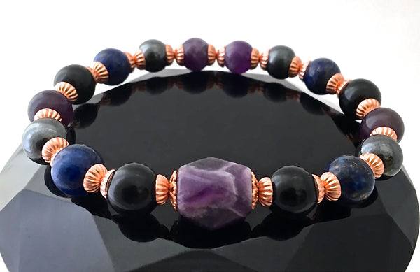 PROTECTION Energy Healing Crystal Copper Reiki Bracelet Tourmaline - Spiritual Diva Jewelry
