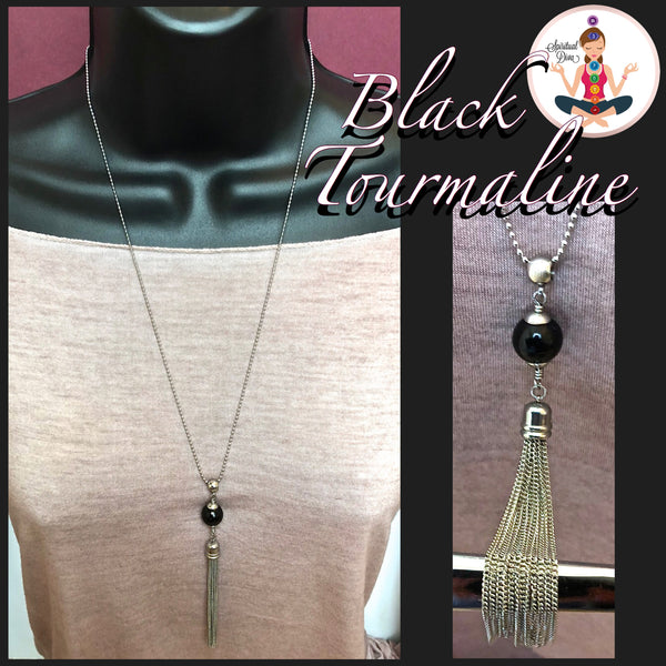 Black Tourmaline Energy Healing Crystal Reiki Tassel Gemstone Necklace - Spiritual Diva Jewelry