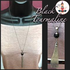 Black Tourmaline Protection Healing Crystal Reiki Tassel Gemstone Necklace - Spiritual Diva Jewelry