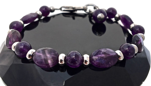 Amethyst Energy Healing Crystal Gemstone Adjustable Reiki Bracelet - Spiritual Diva Jewelry