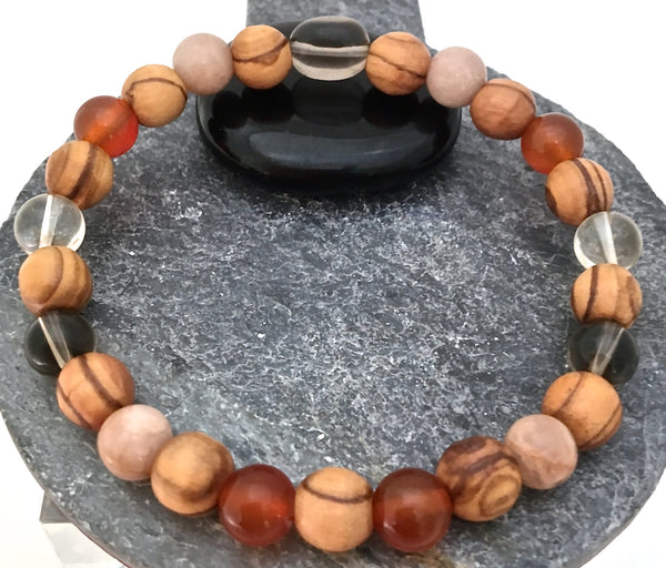 POSITIVE ENERGY Healing Crystal Men Reiki Olive Wood Gemstone Bracelet - Spiritual Diva Jewelry