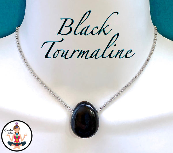 Black Tourmaline Energy Healing Crystal Reiki Gemstone Choker Necklace - Spiritual Diva Jewelry