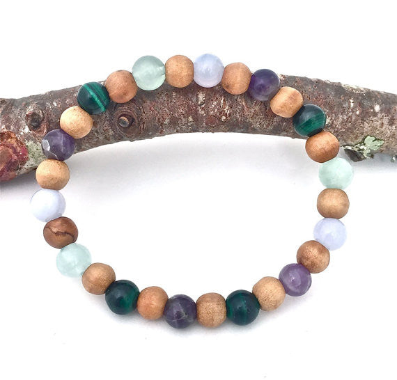Stress Anxiety Relief Mens Healing Crystal Reiki Olive Wood Bracelet - Spiritual Diva Jewelry