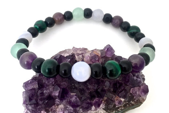 Stress Anxiety Relief Energy Healing Mens Reiki Gemstone Bracelet SALE - Spiritual Diva Jewelry
