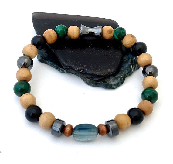 Chronic Pain Relief, Healing, Mens, Reiki Olive Wood Stretch Bracelet - Spiritual Diva Jewelry