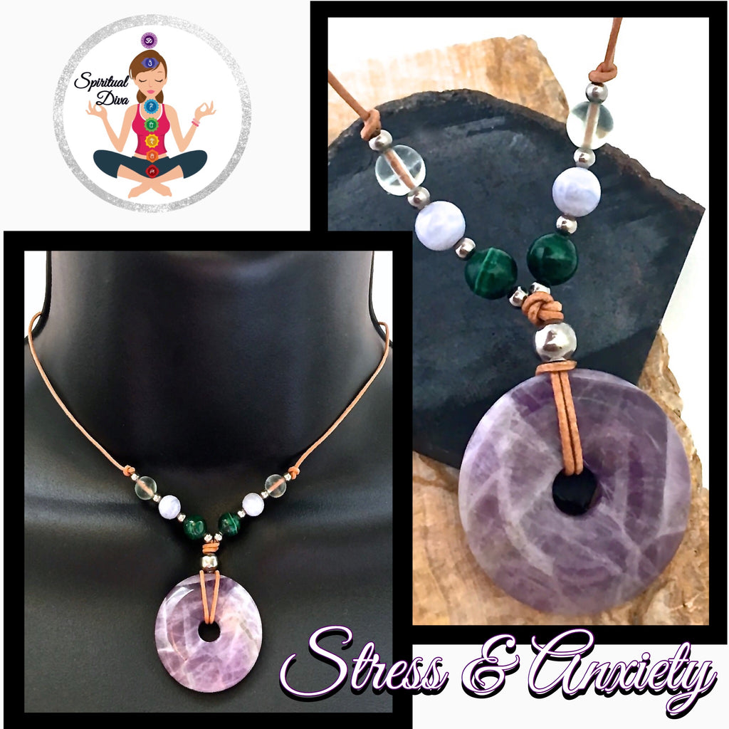 Stress Anxiety Energy Healing Crystal Reiki Leather Choker Necklace - Spiritual Diva Jewelry