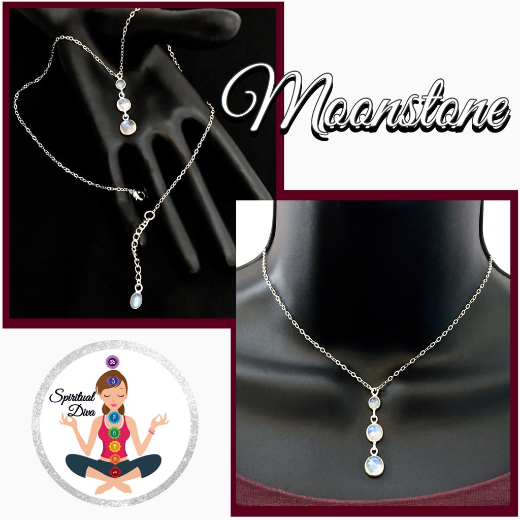Moonstone Healing Crystal Reiki Sterling Silver Choker Y Necklace - Spiritual Diva Jewelry
