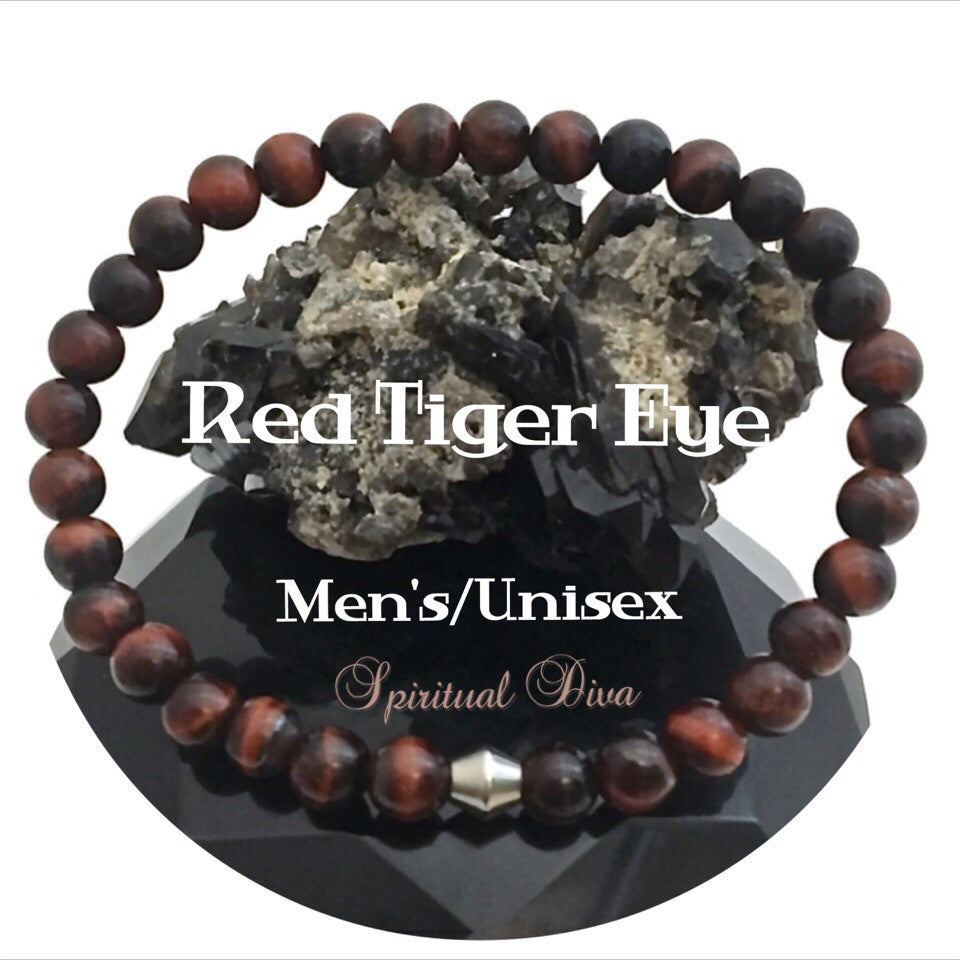 red tiger eye healing crystal reiki mens unisex gemstone bracelet - Spiritual Diva Jewelry