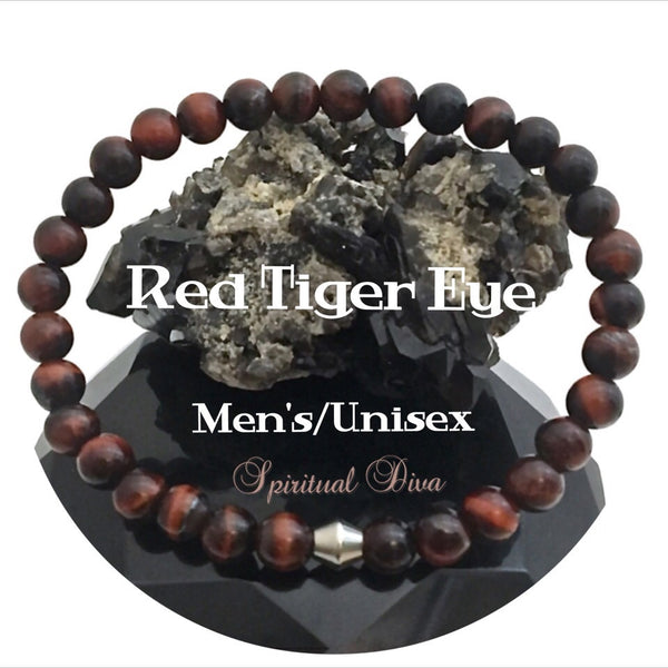 Red Tiger Eye Healing Crystal Reiki Gemstone Mens Unisex Bracelet - Spiritual Diva Jewelry
