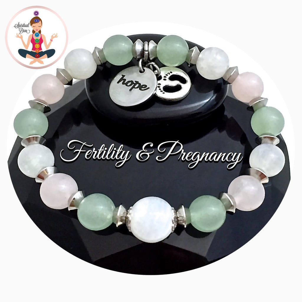 FERTILITY PREGNANCY Healing Crystal Reiki Hope Charm Gemstone Bracelet - Spiritual Diva Jewelry