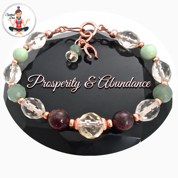 PROSPERITY ABUNDANCE Healing Crystal Reiki copper Gemstone Luck Bracelet