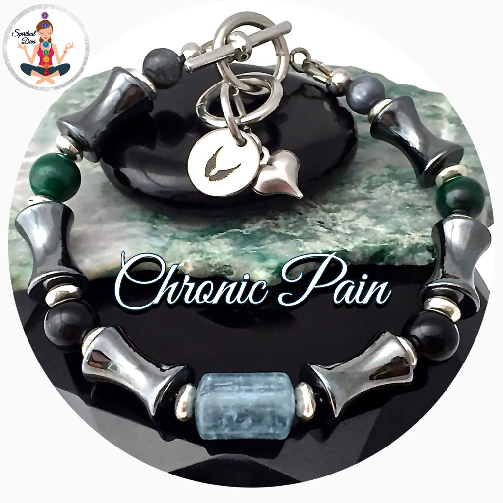 CHRONIC PAIN Relief, Healing Crystal, Reiki Adjustable Angel Bracelet - Spiritual Diva Jewelry
