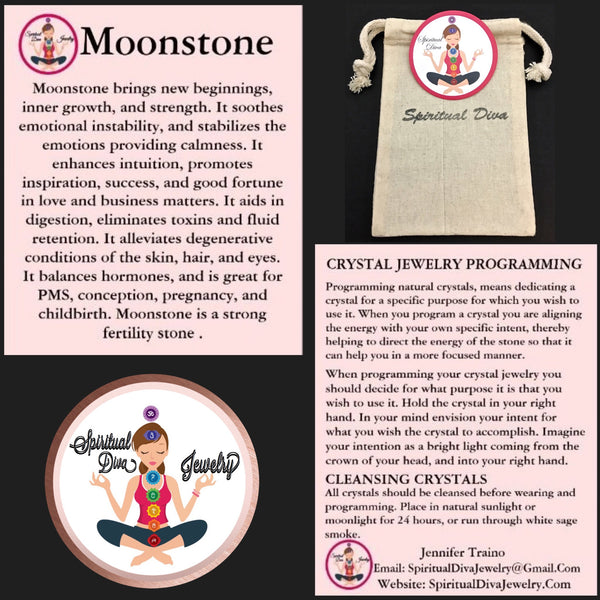 Moonstone Healing Crystal Reiki gemstone description cards gift bag - Spiritual Diva Jewelry