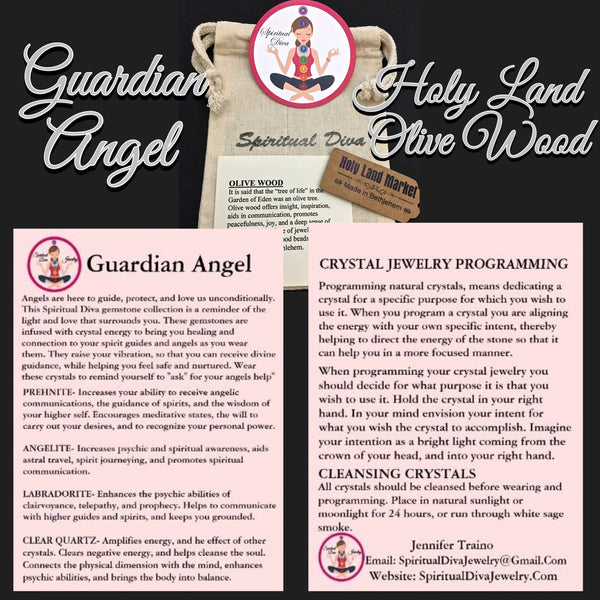 Guardian Angel Healing Crystal Reiki Holy Olive Wood Gemstone description cards packaging  - Spiritual Diva Jewelry