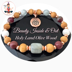 Inner Beauty Healing Crystal Reiki Olive Wood Copper Gemstone Bracelet - Spiritual Diva jewelry