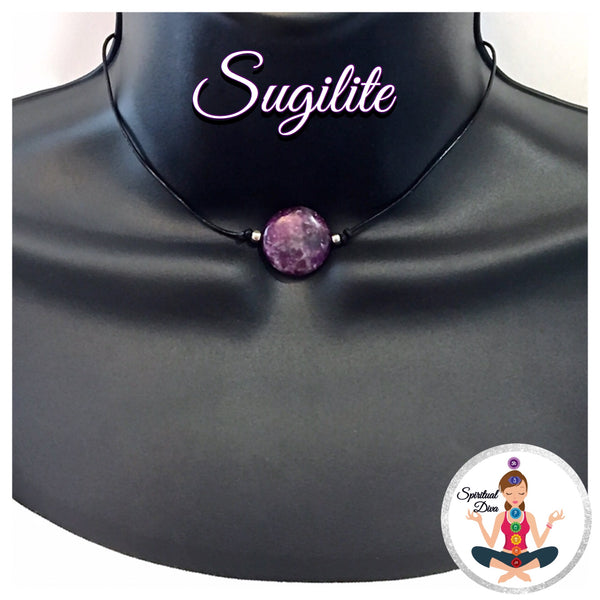 Sugilite Energy Healing Crystal Reiki Pendant Leather Choker Necklace - Spiritual Diva Jewelry