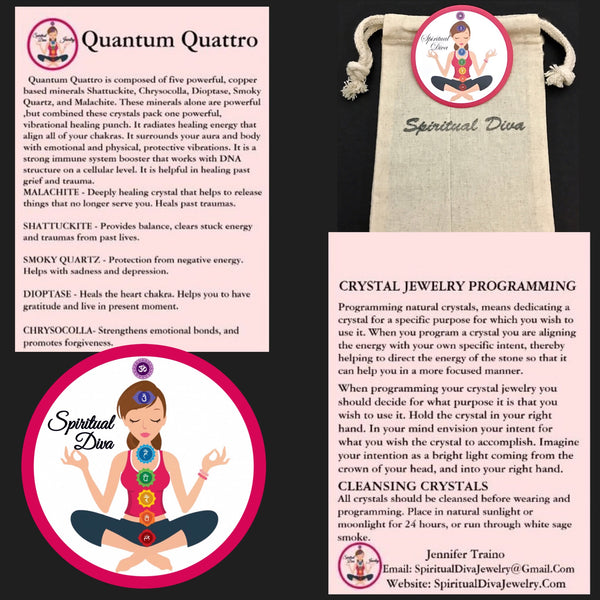 quantum quattro smoky quartz healing crystal reiki gemstkne deacription cards gift bag - Spiritual Diva Jewelry